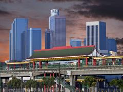 downtown los angeles chinatown station sunset - stock photo