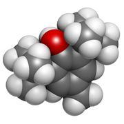 Butylated hydroxytoluene (bht) food additive, molecular model. Stock Illustration
