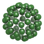 buckminsterfullerene (buckyball, c60), molecular model. - stock illustration