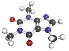 caffeine, molecular model. - stock illustration