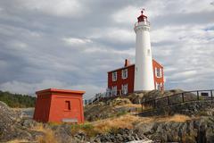 Fisgard Lighthouse Black Clouds, Victoria, BC - stock photo