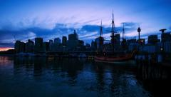 Sydney Harbour with tall ship at dawn NTSC 201GYST Stock Footage