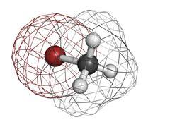 bromomethane (methyl bromide) pesticide, fumigant and soil sterilant, molecul - stock illustration