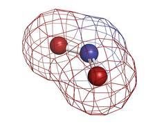 Nitrogen dioxide (no2, nox) toxic gas and air pollutant, molecular model. Stock Illustration