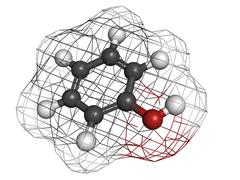 phenol (carbolic acid), molecular model - stock illustration