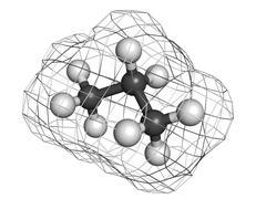 Propane fuel molecule, molecular model Stock Illustration