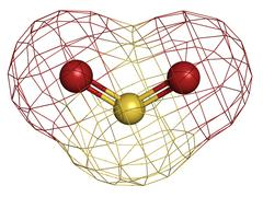 Sulfur dioxide (sulphur dioxide, so2) gas, molecular model. Stock Illustration