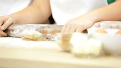 Caucasian Family Females Kitchen Baking Close Up Stock Footage