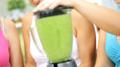Healthy Female Family Vegetable Workout Smoothie Close Up Stock Footage