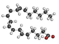 Arachidonic acid (aa, ara) polyunsaturated omega-6 fatty acid, molecular mode Stock Illustration