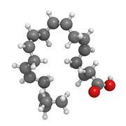 Eicosapentaenoic acid (epa) fish oil omega-3 fatty acid, molecular model. Stock Illustration