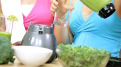 Caucasian Exercise Girls Fresh Blended Vegetable Drink Stock Footage