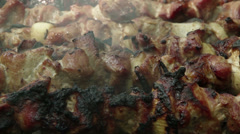 Meat is fried on the grill Stock Footage