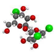 Sucralose artificial sweetener, molecular model Stock Illustration