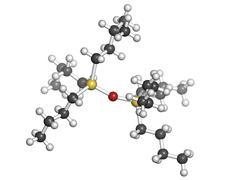 Tributyltin oxide (tbto, organotin) wood preservative, molecular model Stock Illustration