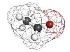 acetaldehyde (ethanal) molecule, chemical structure. - stock illustration