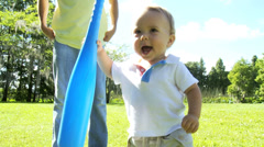 Healthy Boy Toddler Young Father Playing Outdoors Park - stock footage