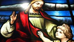 Jesus Christ and a child. Stock Footage