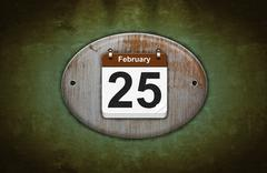Old wooden calendar with february 25. Stock Illustration