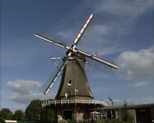 Dutch windmill in operation - wide shot Stock Footage