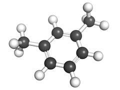 Xylene (meta-xylene, xylol) aromatic hydrocarbon, molecular model Stock Illustration