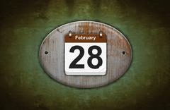 Old wooden calendar with february 28. Stock Illustration