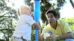 Proud Caucasian Father Baby Son Enjoying Outing Park - stock footage
