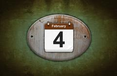 Old wooden calendar with february 4. Stock Illustration