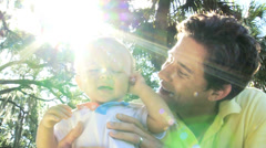 Healthy Boy Toddler Young Father Outdoors Park - stock footage