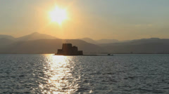 Sunset at sea with a beautiful castle Stock Footage
