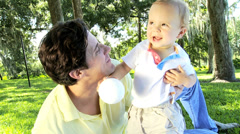 Close up Young Father Toddler Son Together Outdoors Stock Footage