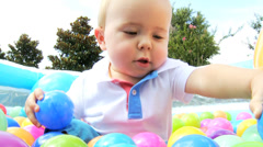 Happy Childhood Fun Caucasian Boy Outdoors Garden Stock Footage