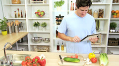 Male Using Online Technology Healthy Eating Diet Stock Footage