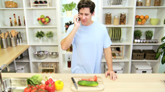 Casual Caucasian Male Smart Phone Home Kitchen Stock Footage