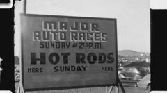 Hot Rods sign. (Vintage 1940's 16mm film footage). - stock footage