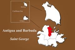 Antigua and Barbuda - Saint George highlighted - stock illustration