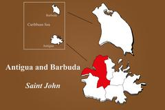 Antigua and Barbuda - Saint John highlighted Stock Illustration