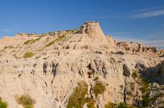 weathered escarpment in the badlands - stock photo