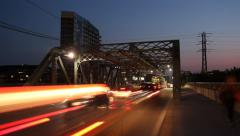 Queen Street Bridge at night. Timelapse. Stock Footage