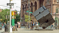 Cube Sculpture in New York Stock Footage
