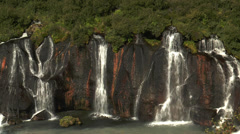Hraunfossar waterfall in iceland deatil view Stock Footage
