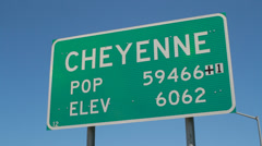 Cheyenne Wyoming City Limits Sign Stock Footage