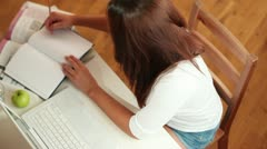 Happy student preparing for exams Stock Footage