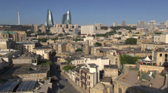 Baku Old City, Flame Towers, skyline, capital Azerbaijan, Caucasus, Soviet Union - stock footage