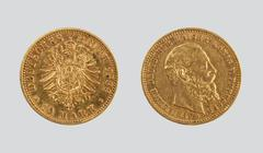 10 gold Reichsmarks - stock photo