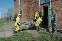 Operation of chemical protection Emergency Stock Photos