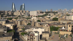 Beautiful old and new Baku, skyline, Azerbaijan capital city Stock Footage