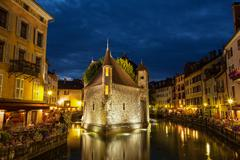 palais de l'isle by night in annecy - france - stock photo