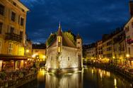 Stock Photo of palais de l'isle by night in annecy - france