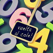 Vuelta al cole, back to school in spanish Stock Photos